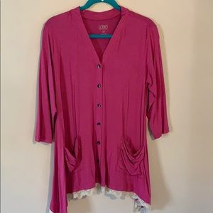 Logo petite button front cardigan with lace trim